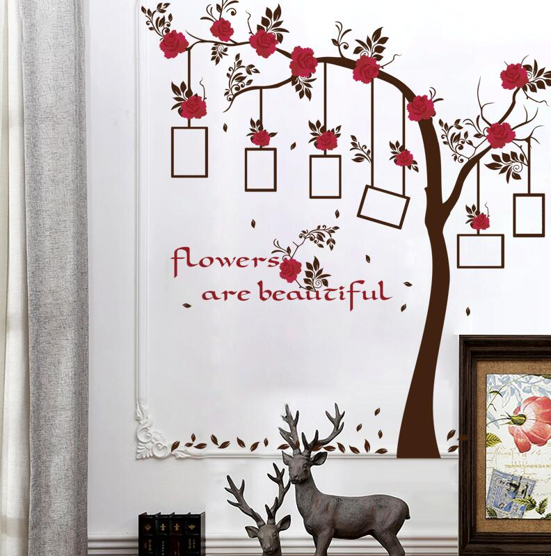 SK9086 New Chic Family Red Flowers Photo Frame Tree Wall Sticker Living Room Decor Room Decals