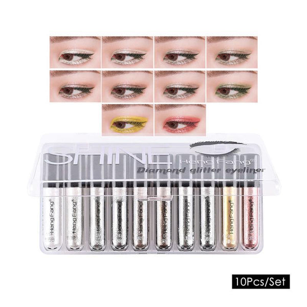 Hengfang brand 10 / set of diamond glitter liquid eyeliner 10 color beauty eye shadow liquid bright powder eye makeup