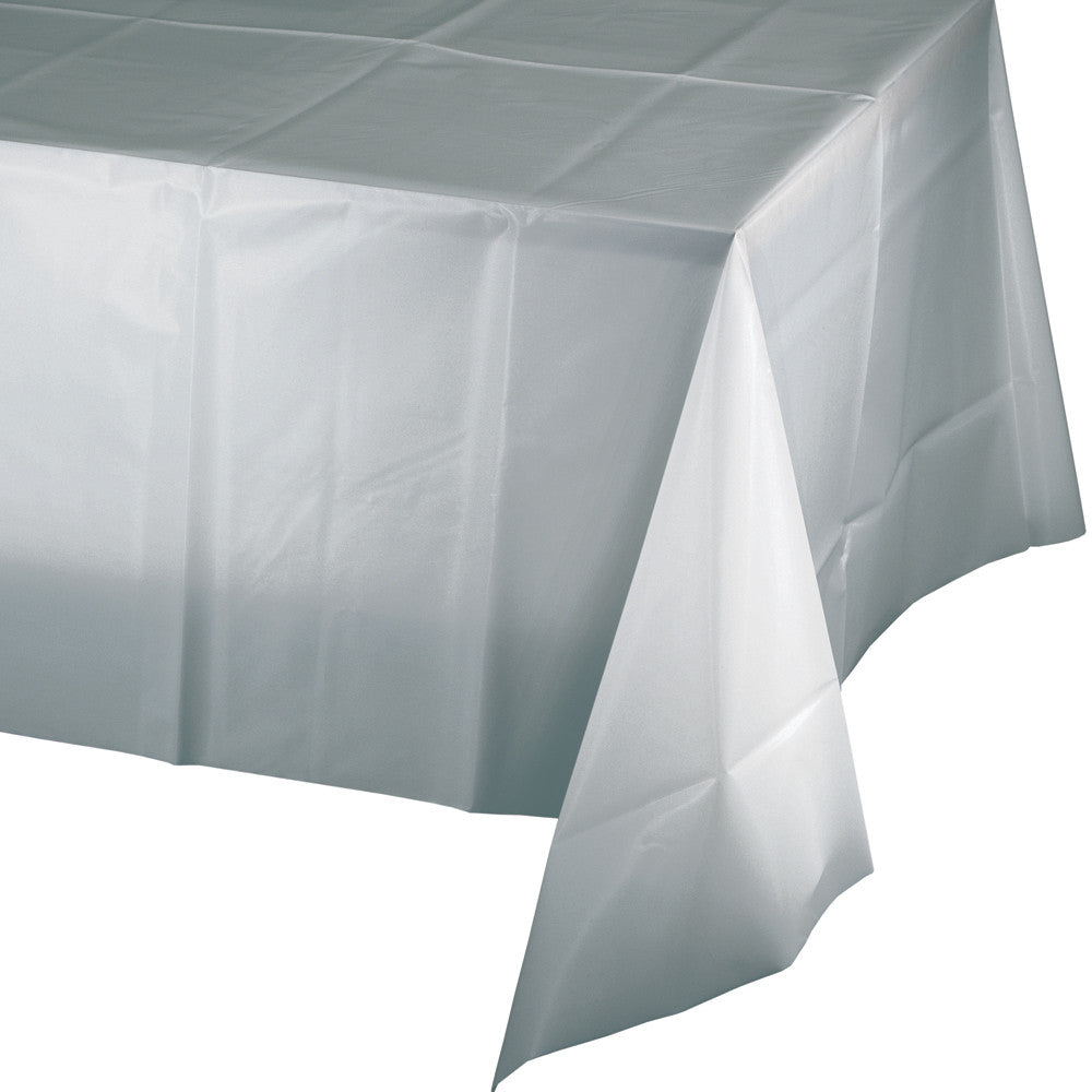 Touch Of Color Shimmering Silver Plastic Tablecover