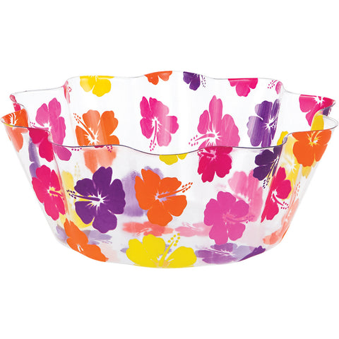 Luau Decor Clear Fluted Bowl