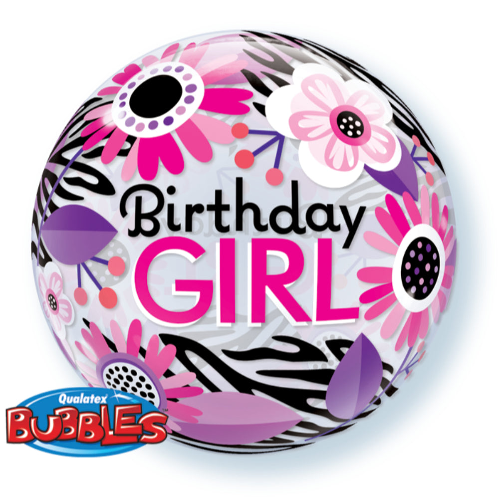 Bday Girl Floral Zebra Stripes 22in Single Bubble 1Ct