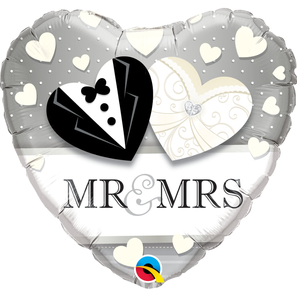 Mr. & Mrs. Wedding  Heart Foil Balloon