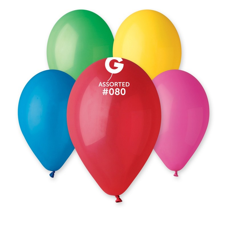 12in Standard Assorted Latex Balloons 100 pieces