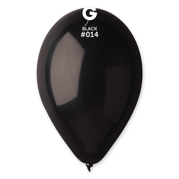 12in Standard Black Latex Balloons 100 pieces