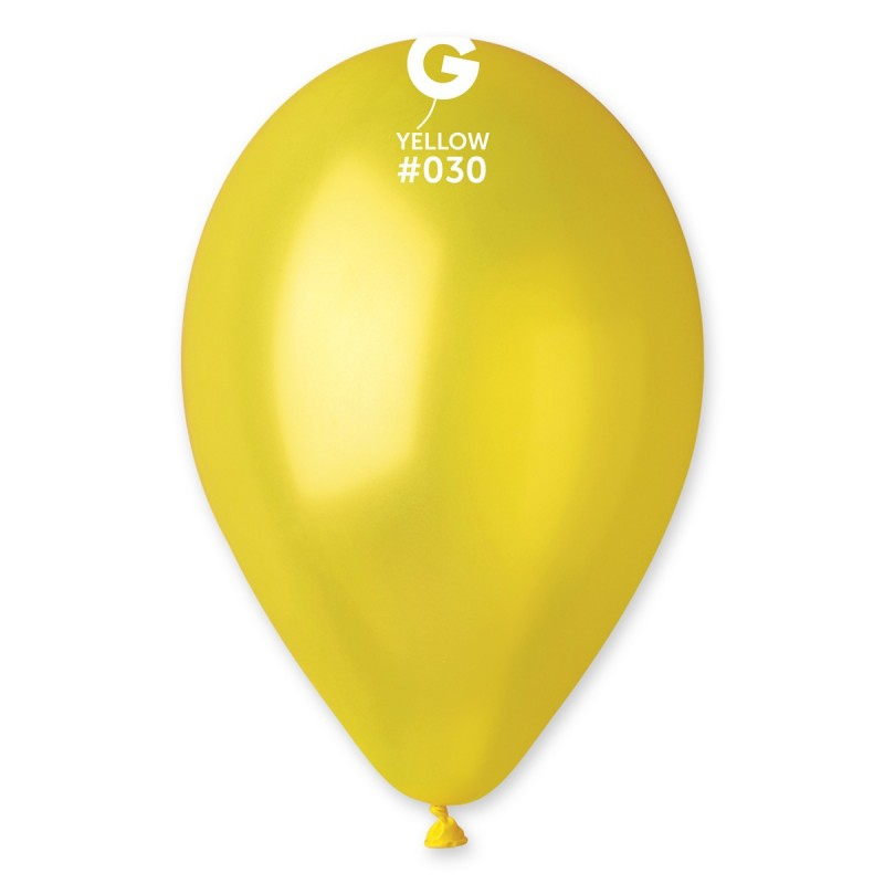 12in Metallic Yellow Latex Balloons 100 pieces
