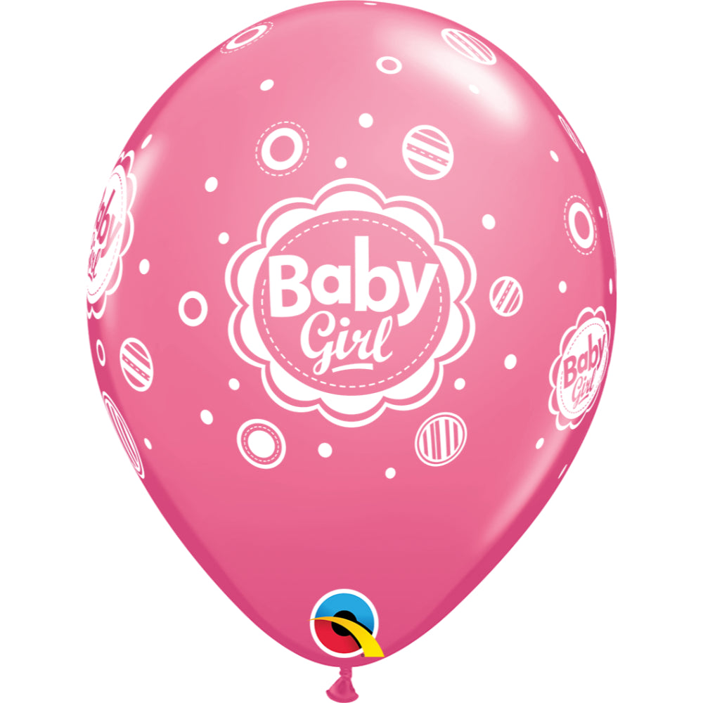 Baby Girl Dots 11in Rose Latex Balloons 6 pieces