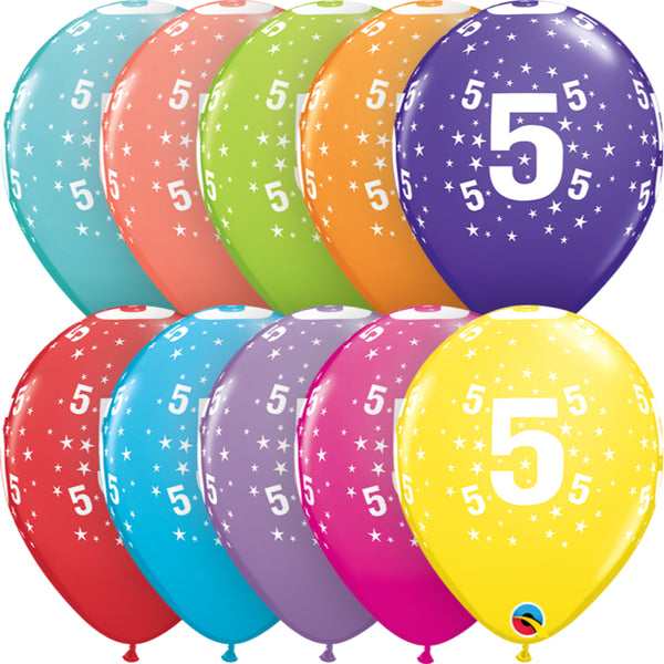 Age 5 11in Tropical Assortment Latex Balloons 6 pieces
