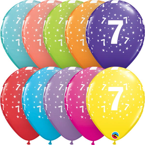 Age 7 11in Tropical Assortment Latex Balloons 6 pieces