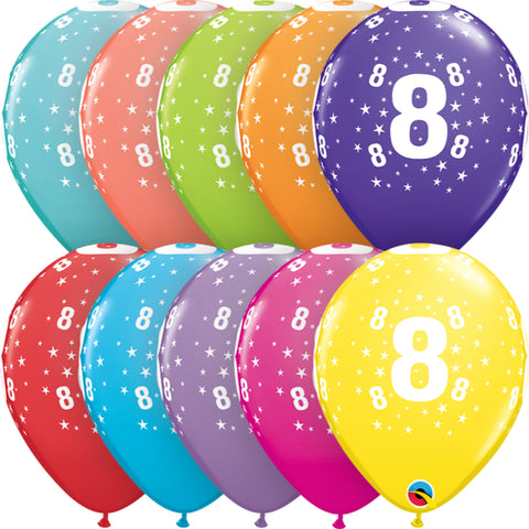 Age 8 11in Tropical Assortment Latex Balloons 6 pieces
