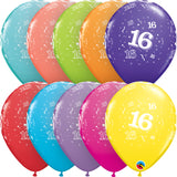 Age 16 11in Tropical Assortment Latex Balloons 6 pieces