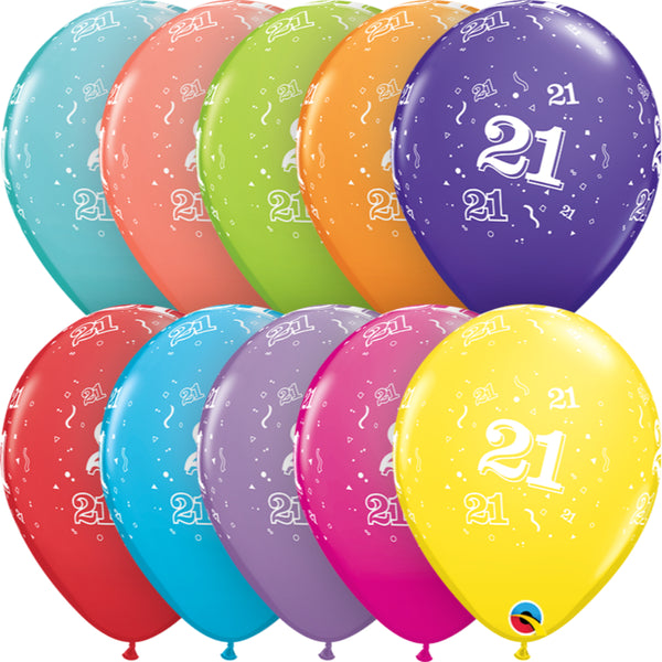 Age 21 11in Tropical Assortment Latex Balloons 6 pieces