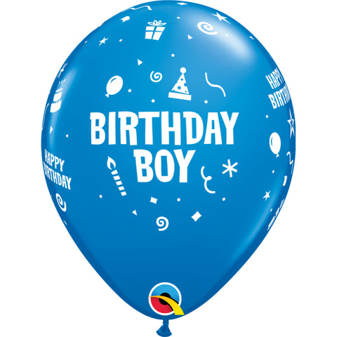 Birthday Boy 11in Dark Blue Latex Balloons 6 pieces