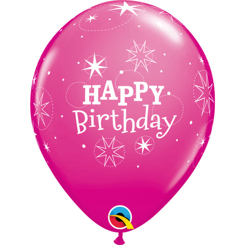 11 inch Birthday Sparkle  Wild Berry Latex Balloons