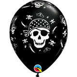 Pirate Skull & Cross Bones 11in Onyx Black Latex Balloons 6 pieces
