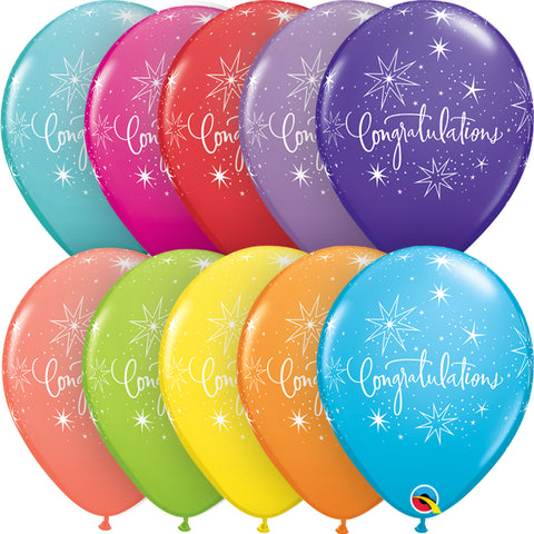 Congratulations 11in Tropical Assortment Latex Balloons 6 pieces