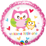 Baby Welcome Little One Owls  Foil Balloon