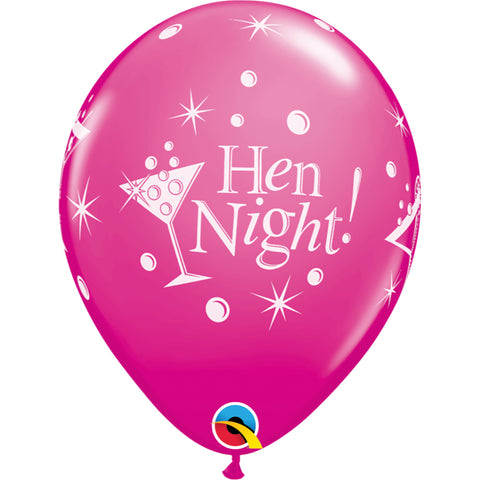 Hen Night Bubbly 11in Wild Berry Latex Balloons 6 pieces