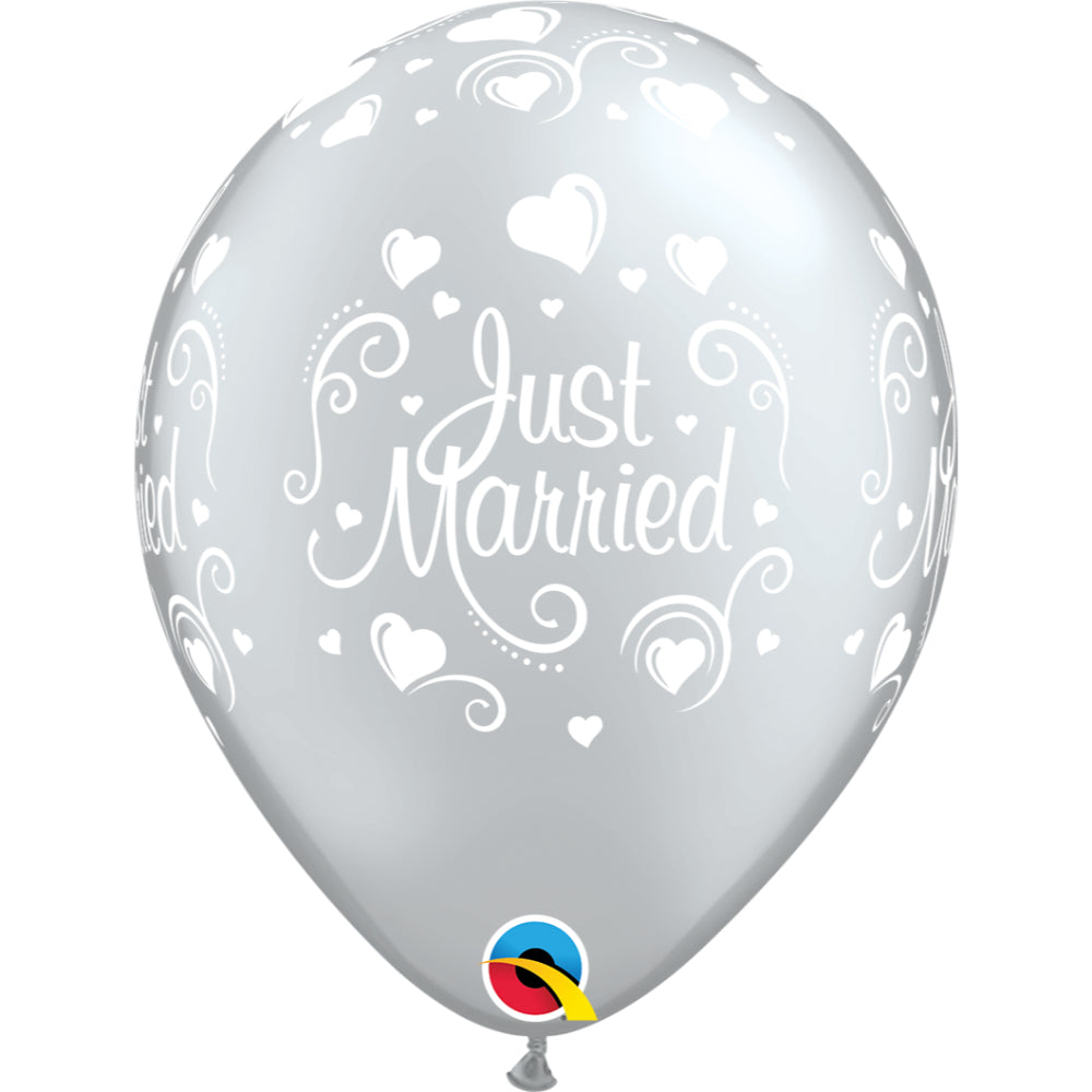 Just Married Hearts 11in Silver Latex Balloons 6 pieces