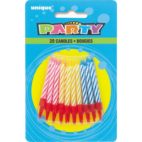 Birthday Multi Spiral Candles In Holders