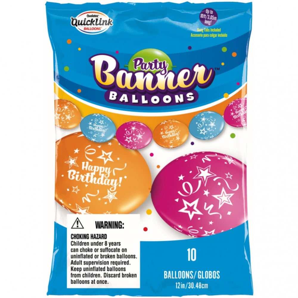 Happy Birthday Banner Balloons Asst 12in Qlink 10 pieces