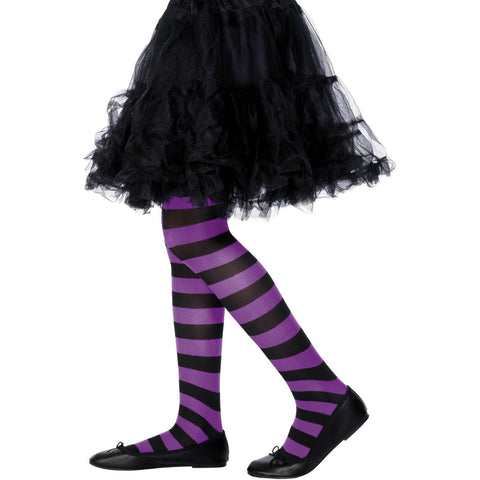 Sheer Fun Child Tights Purple With Black Striped Age 6-12