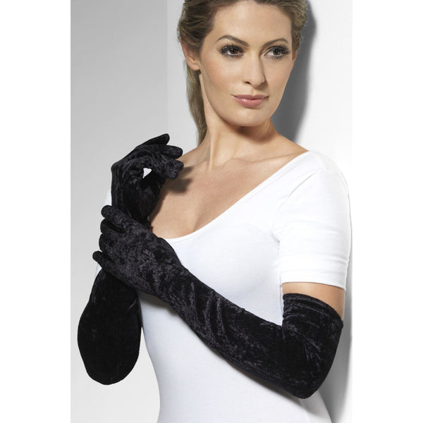 Velveteen Gloves Black Long