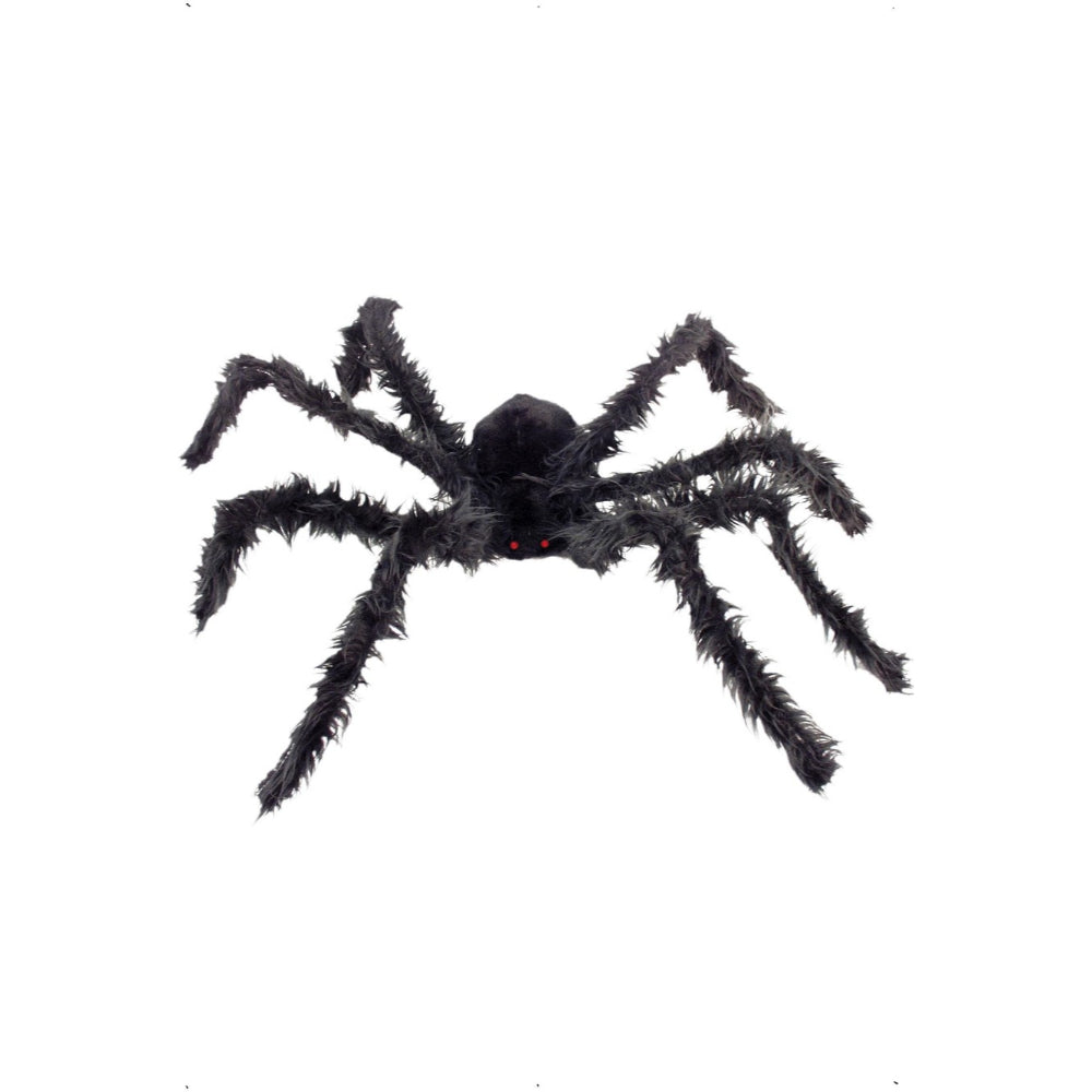 Giant Haiy Black Spider With Light Up Eyes