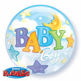 Baby Boy Moon & Stars 22in Single Bubble 1Ct