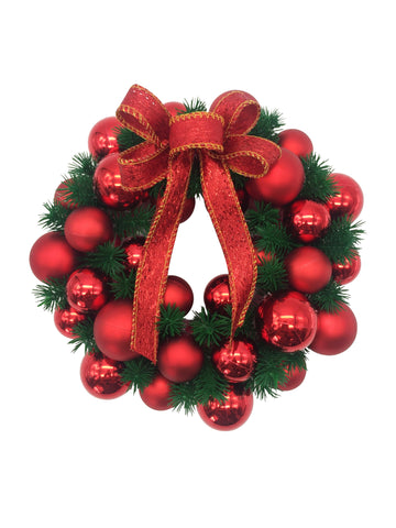Red Decorated Wreath With Bow