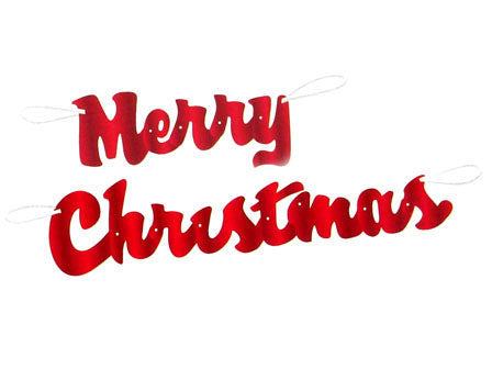 Red Script Merry Christmas Banner