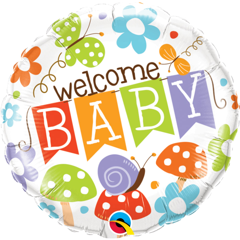 Welcome Baby Banner Garden Foil Balloon