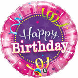 Birthday Hot Pink  Round Foil Balloon