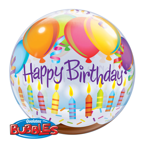 Birthday Balloons & Candles Bubble Balloon 22in