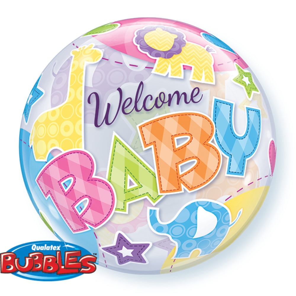 Welcome Baby Animals Patterns Bubble Balloon 22in