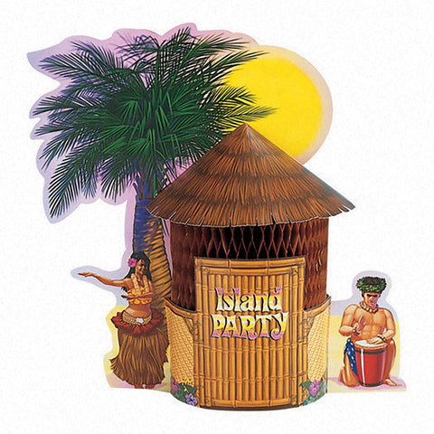 Luau Deco Centerpiece Honeycomb Tiki Hut