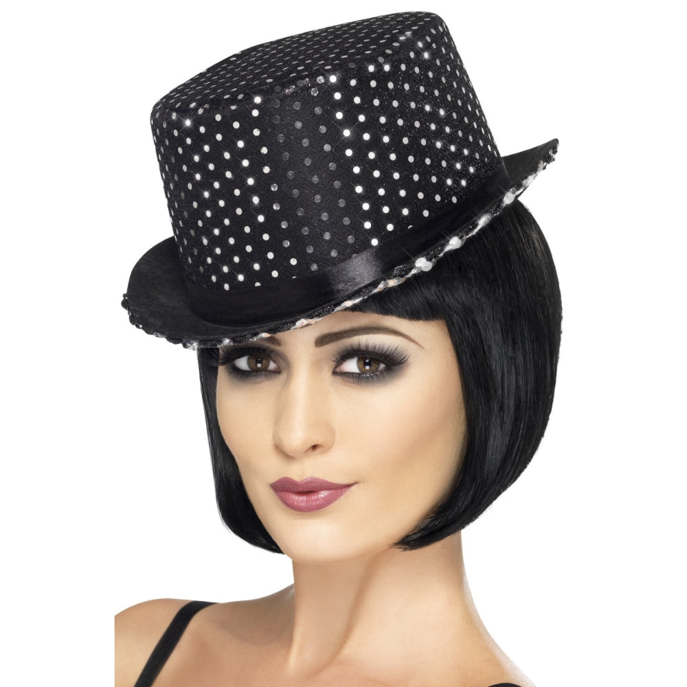 Sequinned Topper F Black Hat With Band
