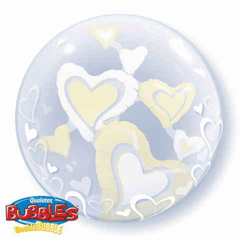 White & Ivory Floating Hearts 24in Double Bubble 1Ct
