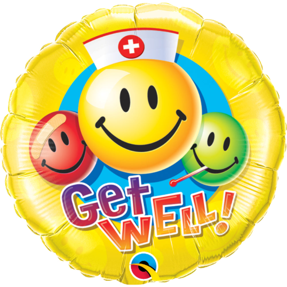 Get Well Smiley Faces Foil Balloon
