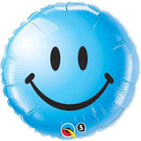 Non Message Smiley Face Blue Foil Balloon