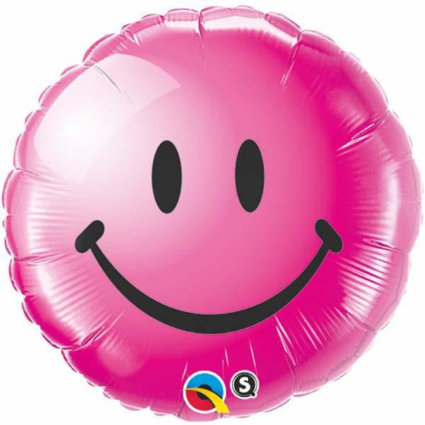 Non Message Smiley Face Wild Berry Foil Balloon