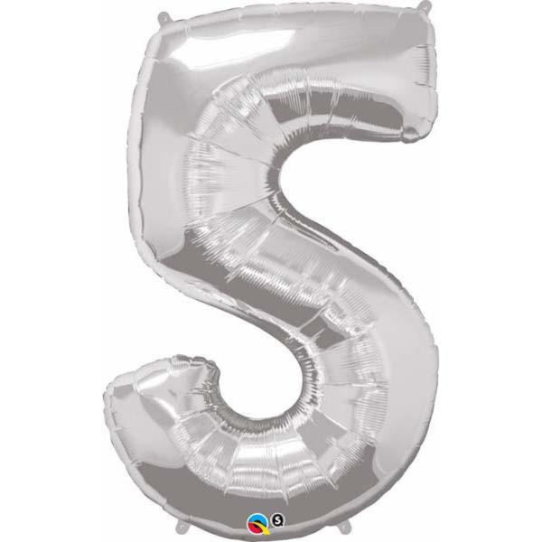 Number Five Silver 44 inch  Number Foil Balloons