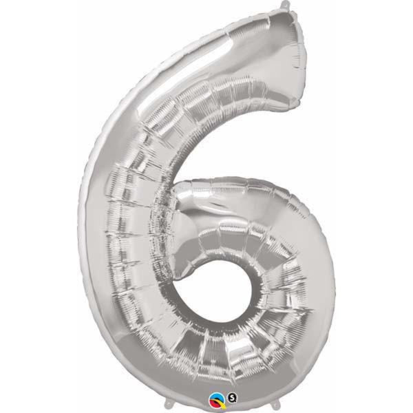 Number Six Silver 42 inch  Number Foil Balloons