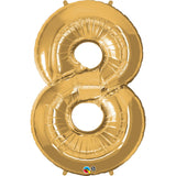 Number Eight Gold 42 inch  Number Foil Balloons