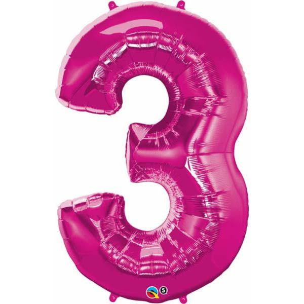 Number Three Magenta 44 inch  Number Foil Balloons