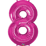 Number Eight Magenta 42 inch  Number Foil Balloons