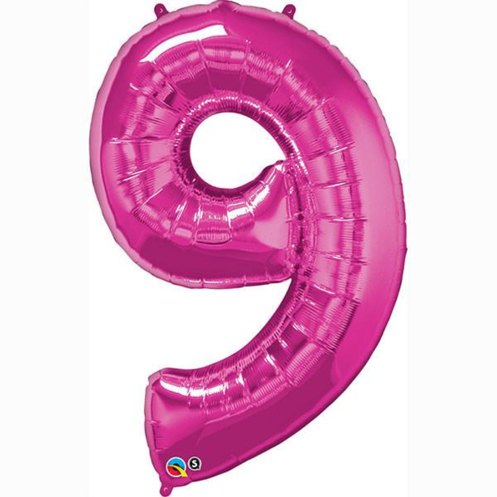 Number Ninch e Magenta 42 inch  Number Foil Balloons