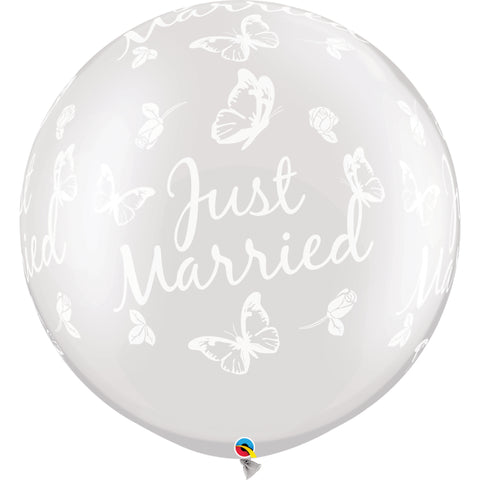 30in Pearl White Just Married Butterflies 2 pieces