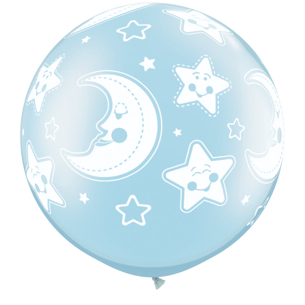 Baby Moon & Stars 30in Pearl Light Blue 2 pieces