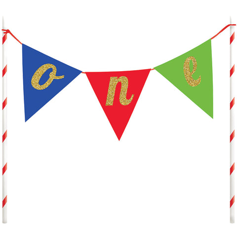 1st Bday One Pennant Cake Topper