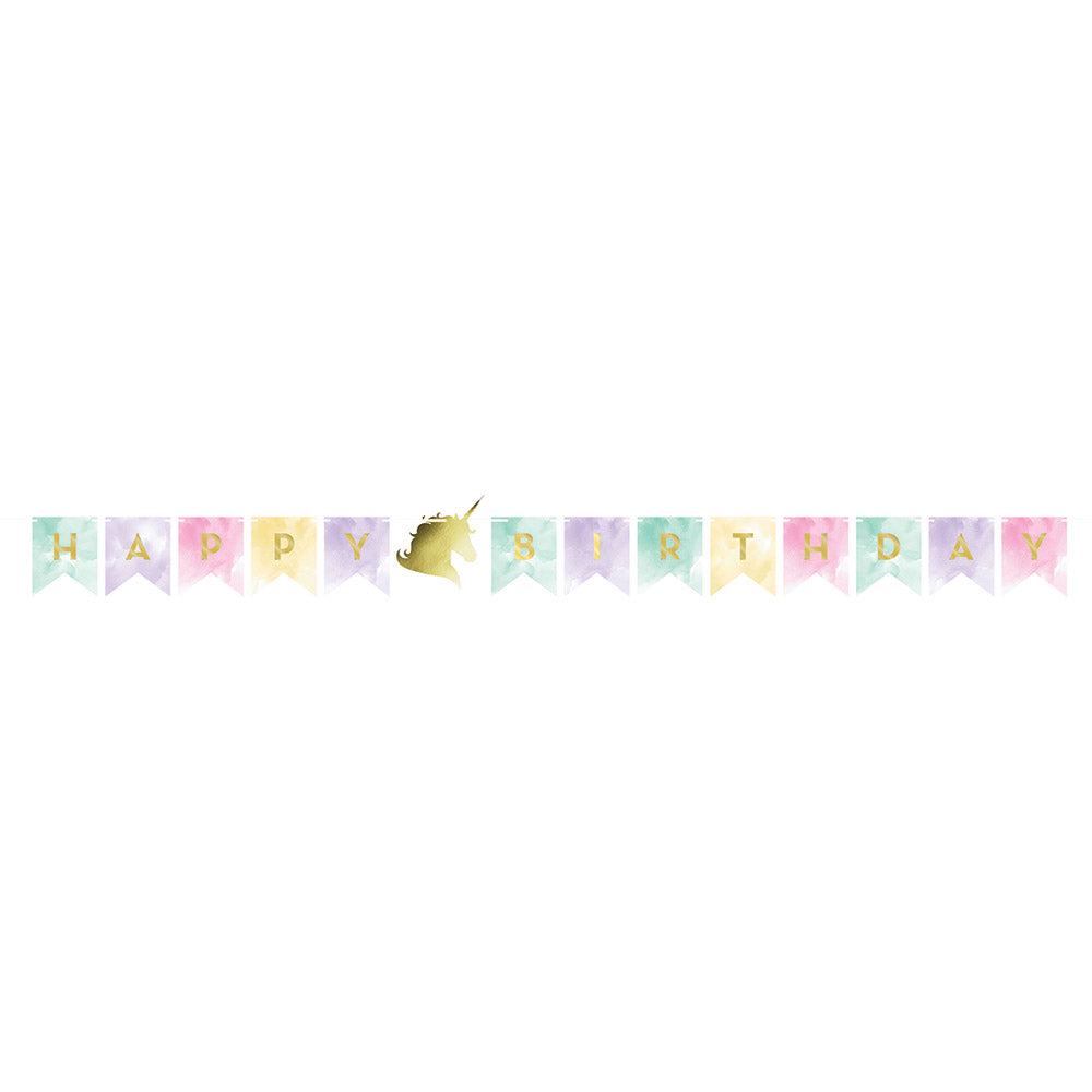 Unicorn Sparkle Shaped Banner W-Twine Foil Stamp